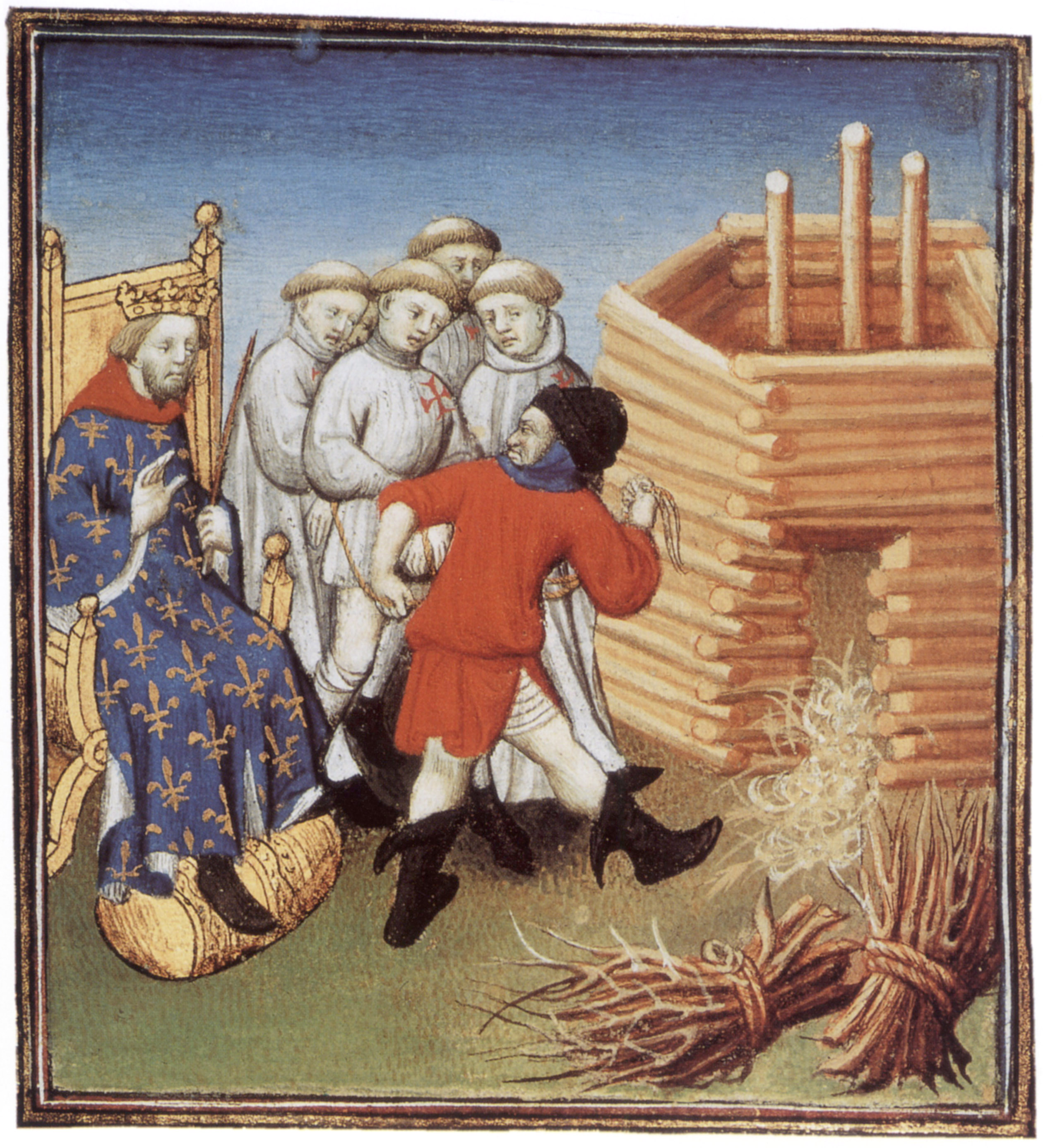 Templars are going to be executed under look of french king Philippe IV le Bel in 1310, illumination