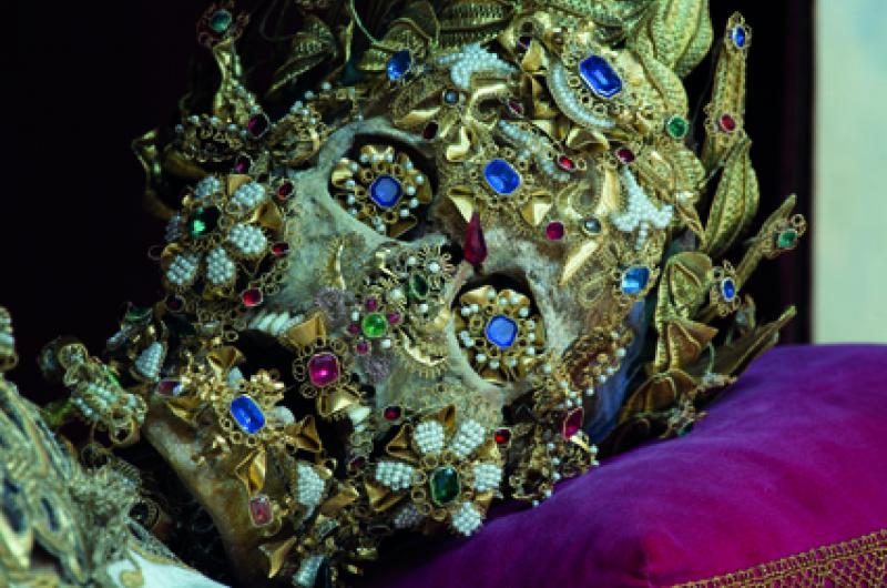 St Benedictus skeleton covered in jewels