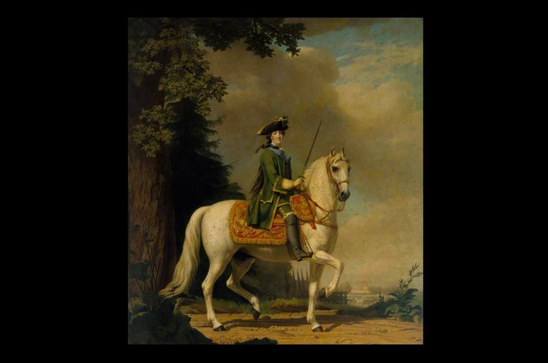 A portrait of Catherine the Great on her horse