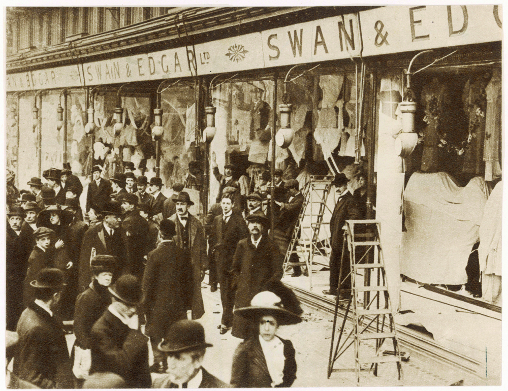 The windows of Swan & Edgar Ltd smashed by suffragettes. Date: 1912 Source: Unattributed photograph