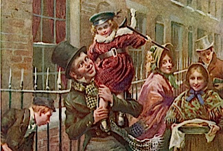 Happy at the prospect of a  hearty Christmas dinner, due  to the generosity of the  reformed Ebenezer Scrooge,  Bob Cratchit carries his son  Tiny Tim on his shoulder!     Date: First published 1843 - 1844