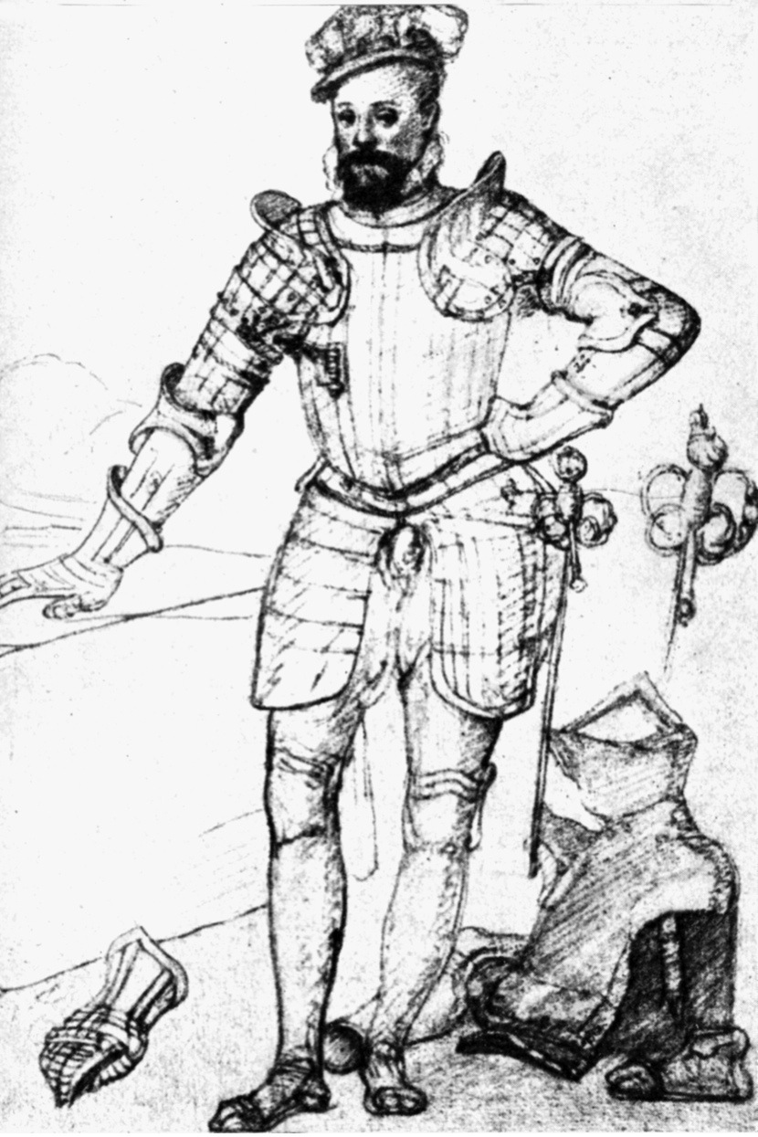 Dudley, Robert, 1st Earl of Leicester, 24.6.1532 - 4.9.1588, full length, drawing by Federico Zuccaro, 16th century,