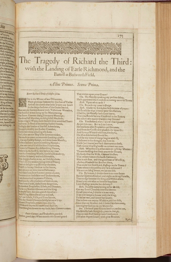 William Shakespeare, First Folio, 1623Images for use only in connection with 'Shakespeare in the Royal Library', Windsor Castle, 13 February 2016 - January 2017.Royal Collection Trust / (C) Her Majesty Queen Elizabeth II 2015.Single use only; not to be archived or passed on to third parties.