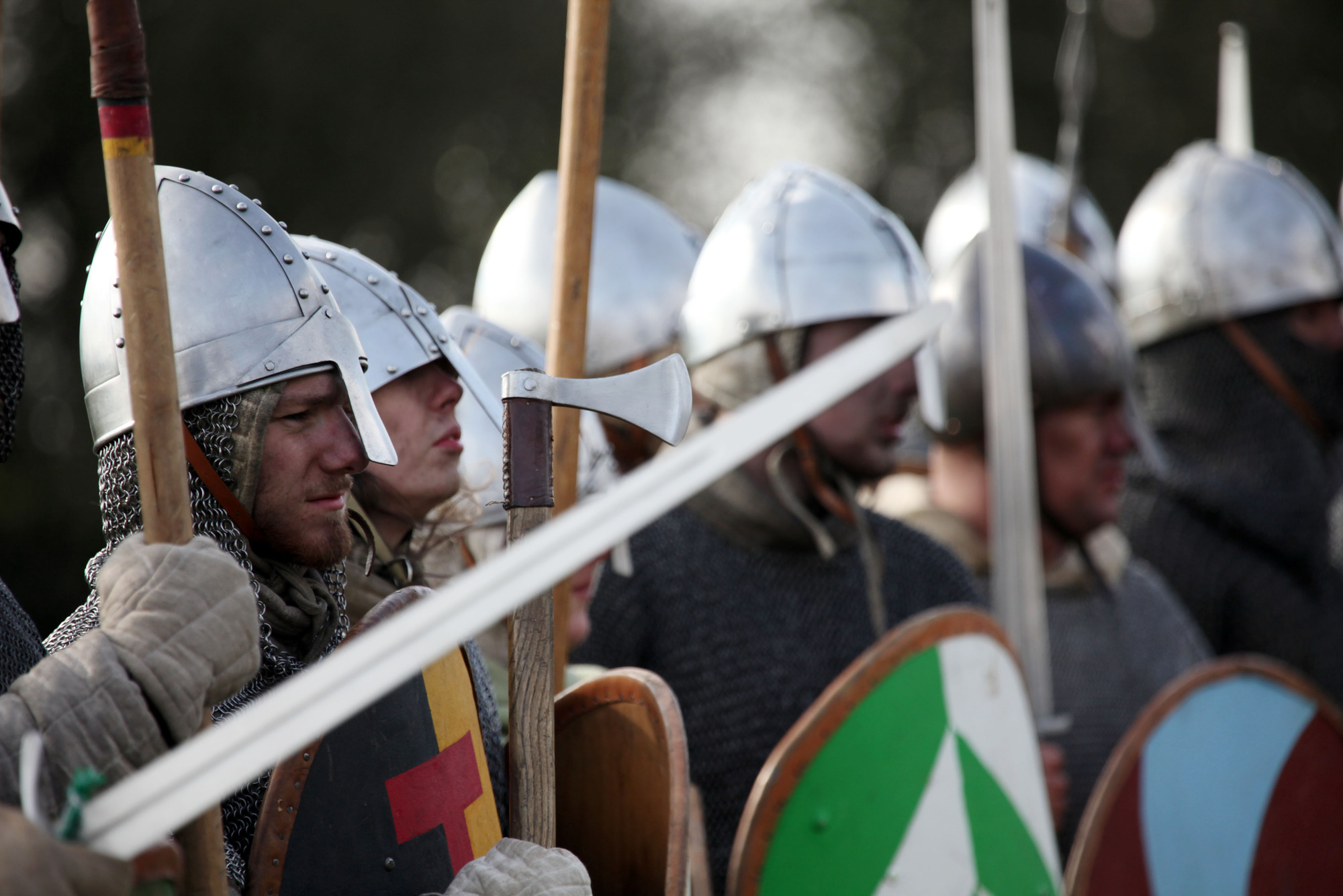 Programme Name: 1066: A Year to Conquer England - TX: n/a - Episode: n/a (No. 3) - Picture Shows: Norman soldiers prepare for the Battle of Hastings  - (C) BBC - Photographer: Production