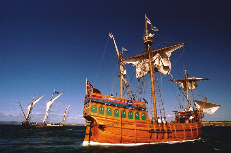 The replica of 'The Matthew' arriving at Douarnenez, France in 1998. It was on the original 15th-century vessel that John Cabot travelled to North America. (Getty Images)