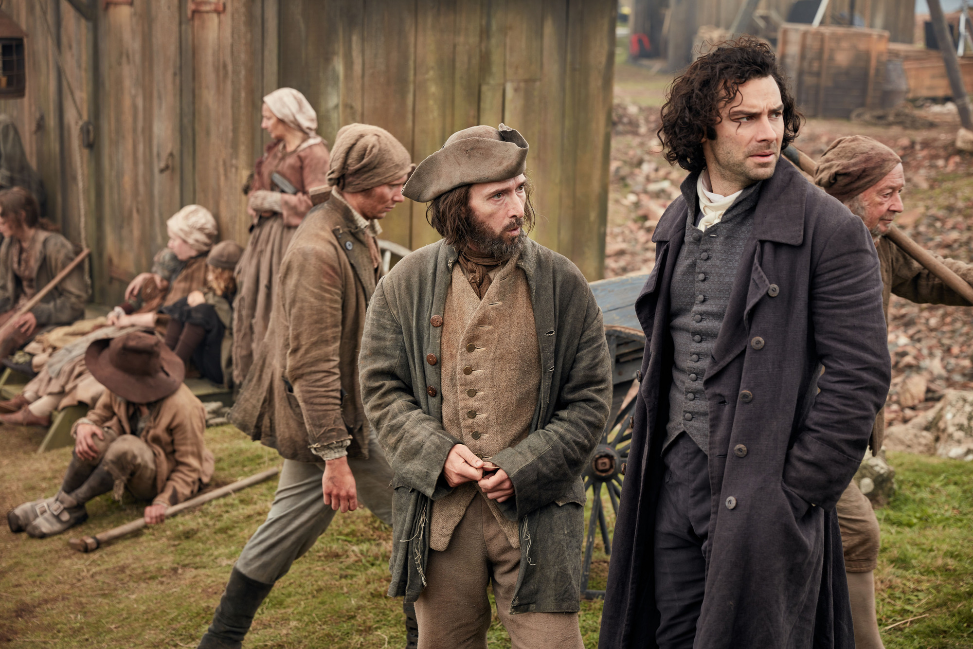 WARNING: Embargoed for publication until 00:00:01 on 25/07/2017 - Programme Name: Poldark S3 - TX: 30/07/2017 - Episode: n/a (No. 8) - Picture Shows: +++PUBLICATION OF THIS IMAGE IS STRICTLY EMBARGOED UNTIL 00.01 HOURS TUESDAY JULY 25TH 2017+++ Zacky Martin - (TRISTAN STURROCK), Ross Poldark (AIDAN TURNER) - (C) Mammoth Screen - Photographer: Robert Viglasky