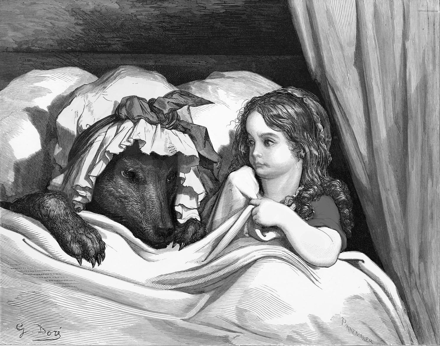 Charles Perrault 's, Little Red Riding Hood: Little Red Riding Hood with the wolf, engraving by Gustave Doré.  Little Red Riding Hood sits in the bed next to the wolf, disguised in her grandmother 's night-cap. Drawn by Gustave Doré, French artist, b January 6, 1832 – January 23, 1883. Engraved by Pannemaker. From Charles Perrault 's Les Contes de Perrault / Perrault 's Fairy Tales; CP: French writer, b January 12,1628 –  May 16, 1703.  (Photo by Culture Club/Getty Images)