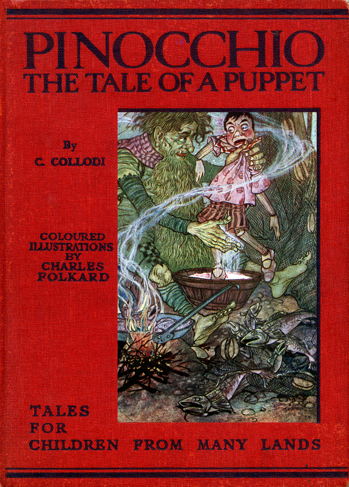'Pinocchio: the Tale of a Puppet' by  C.Collodi (Carlo Lorenzini, 24 November 1826 – 26 October 1890), with coloured illustrations by Charles Folkard (6 April 1878- 26 February 1963), 1914. Cover illustration.  (Photo by Culture Club/Getty Images) *** Local Caption ***