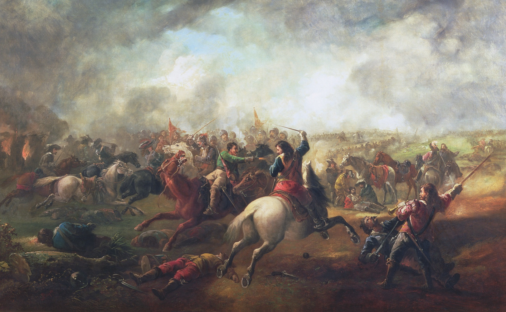 CHE18104 Battle of Marston Moor, 1644 (oil on canvas) by Barker, John (19th century); 101.6x152.5 cm; © Cheltenham Art Gallery & Museums, Gloucestershire, UK; (add.info.: English Civil War (1642-49);); PERMISSION REQUIRED FOR NON EDITORIAL USAGE; English,  out of copyright  PLEASE NOTE: Bridgeman Images works with the owner of this image to clear permission. If you wish to reproduce this image, please inform us so we can clear permission for you.