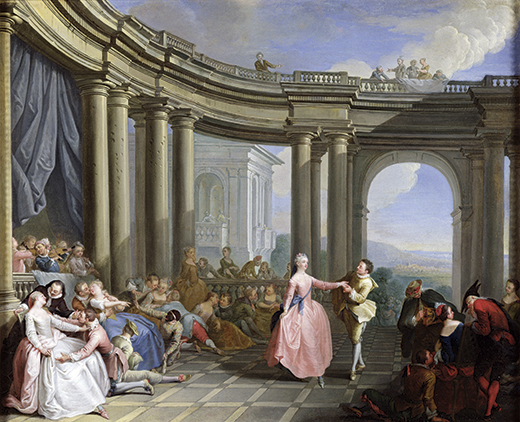 XIR222244 The Minuet (oil on canvas) by Le Clerc, Jacques Sebastien (c.1734-85); 53x65 cm; Musee de la Ville de Paris, Musee du Petit-Palais, France; Giraudon; French,  out of copyright