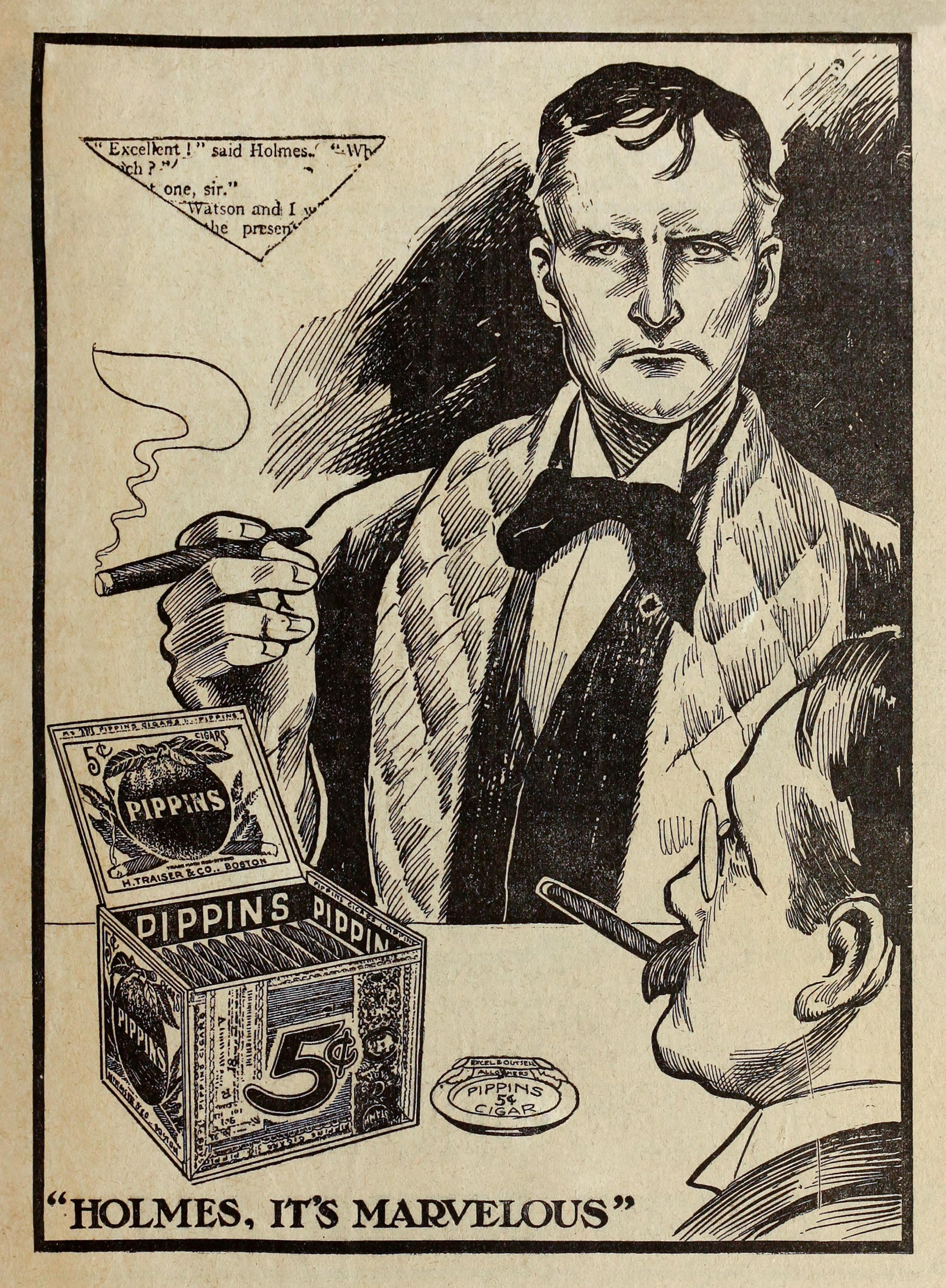 """Holmes, it's Marvelous"" Pippins Cigar print advert featuring Sherlock Holmes and Dr Watson. From a series of booklets distributed with The Boston Sunday Post in 1911. Sherlock is drawn to resemble actor William Gillette. (Image by Contraband Collection/Alamy Stock Photo)"