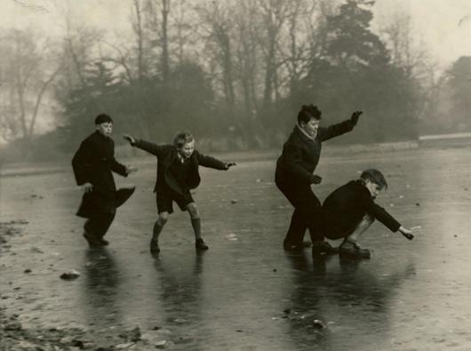 Cannon Hill Park, children on frozen lake. 27-12-1961