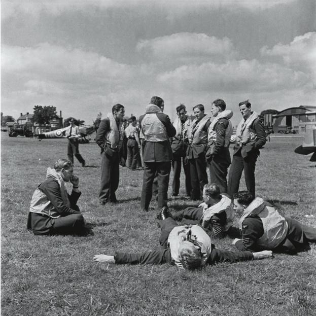Airmen grab rest between missions at RAF Hawkinge in Kent, July 1940.