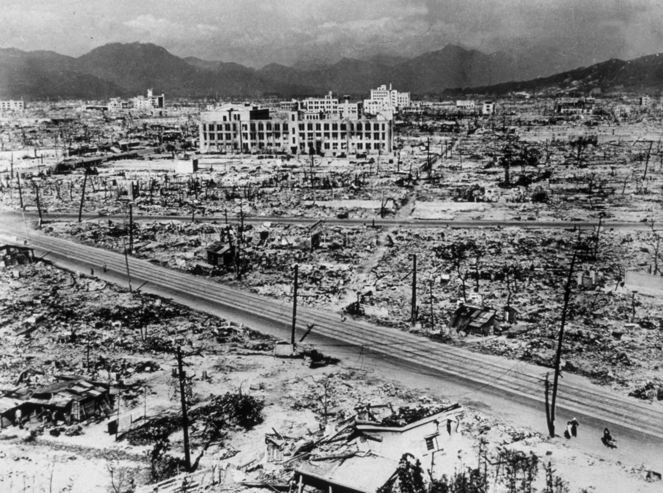 1945:  Atomic bomb damage in Hiroshima.  (Photo by Hulton Archive/Getty Images)