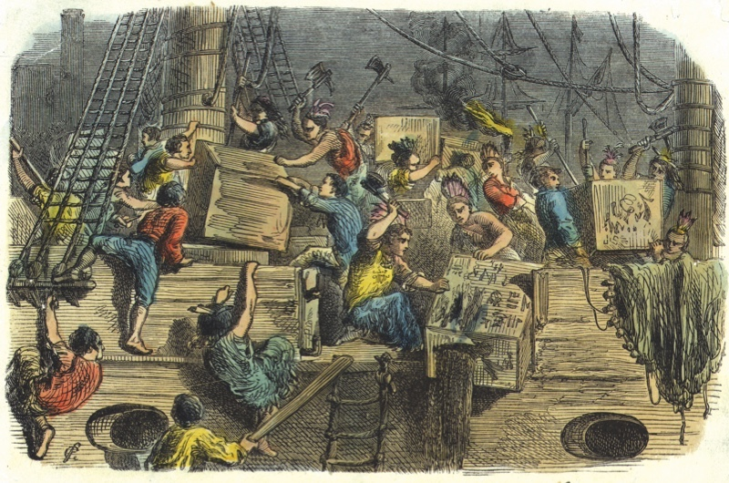 16th December 1773:  Dressed as Native Americans, a group of Bostonians board a British ship laden with imported tea and throw the full crates into the harbour. This protest against British taxation on tea imports brought the country one step closer to the American War of Independence.  (Photo by Edward Gooch/Edward Gooch/Getty Images)