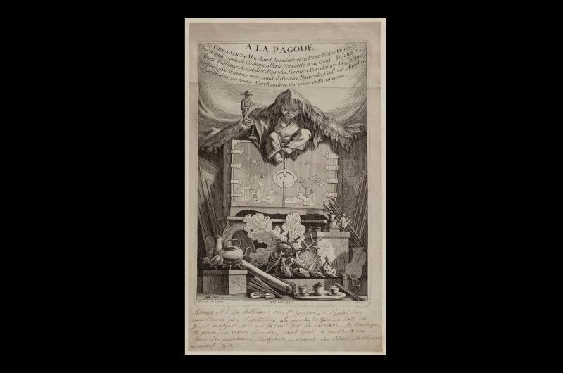 An 18th-century print from a collection of images about the French Revolution. This particular image shows an old man wearing a silk jacket and trousers sat on top of a cabinet.