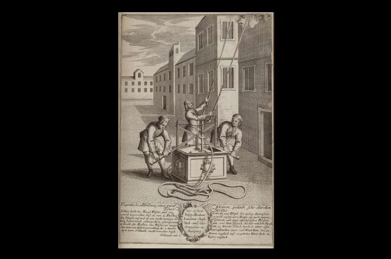 An 18th-century print from a collection of images about the French Revolution. This particular image shows three men attempting to put out a fire on the top floor of a building with a hand pump fire engine.