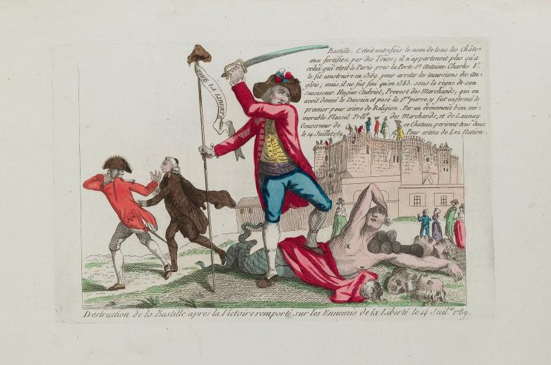 An 18th-century print from a collection of images about the French Revolution. This particular image shows a man brandishing a sword in front of the Bastille.