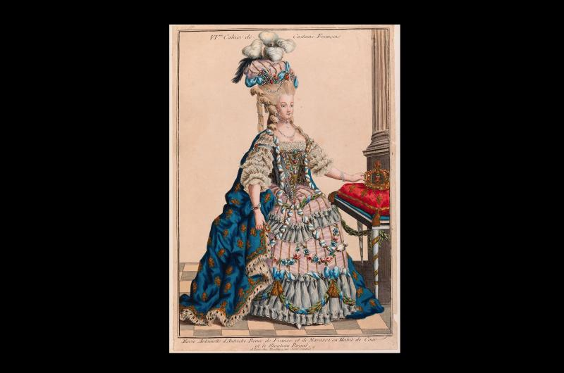 An 18th-century print from a collection of images about the French Revolution. This particular image shows a full-length portrait of Marie Antoinette, queen of France, wearing an extravagant royal gown.