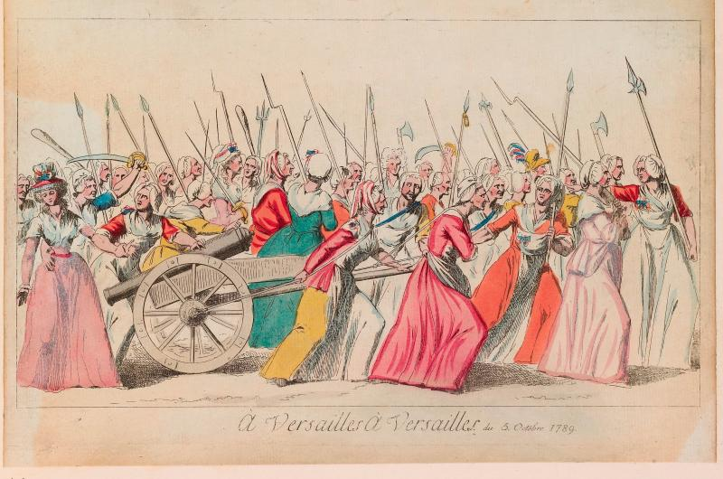 An 18th-century print from a collection of images about the French Revolution. This particular image shows a large group of women bearing weapons including axes and firearms.