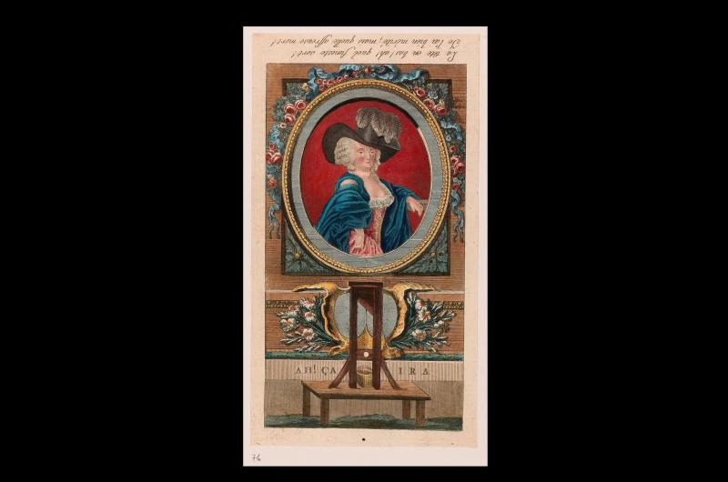 An 18th-century print from a collection of images about the French Revolution. This particular image shows an oval portrait of Marie-Antoinette and a guillotine.