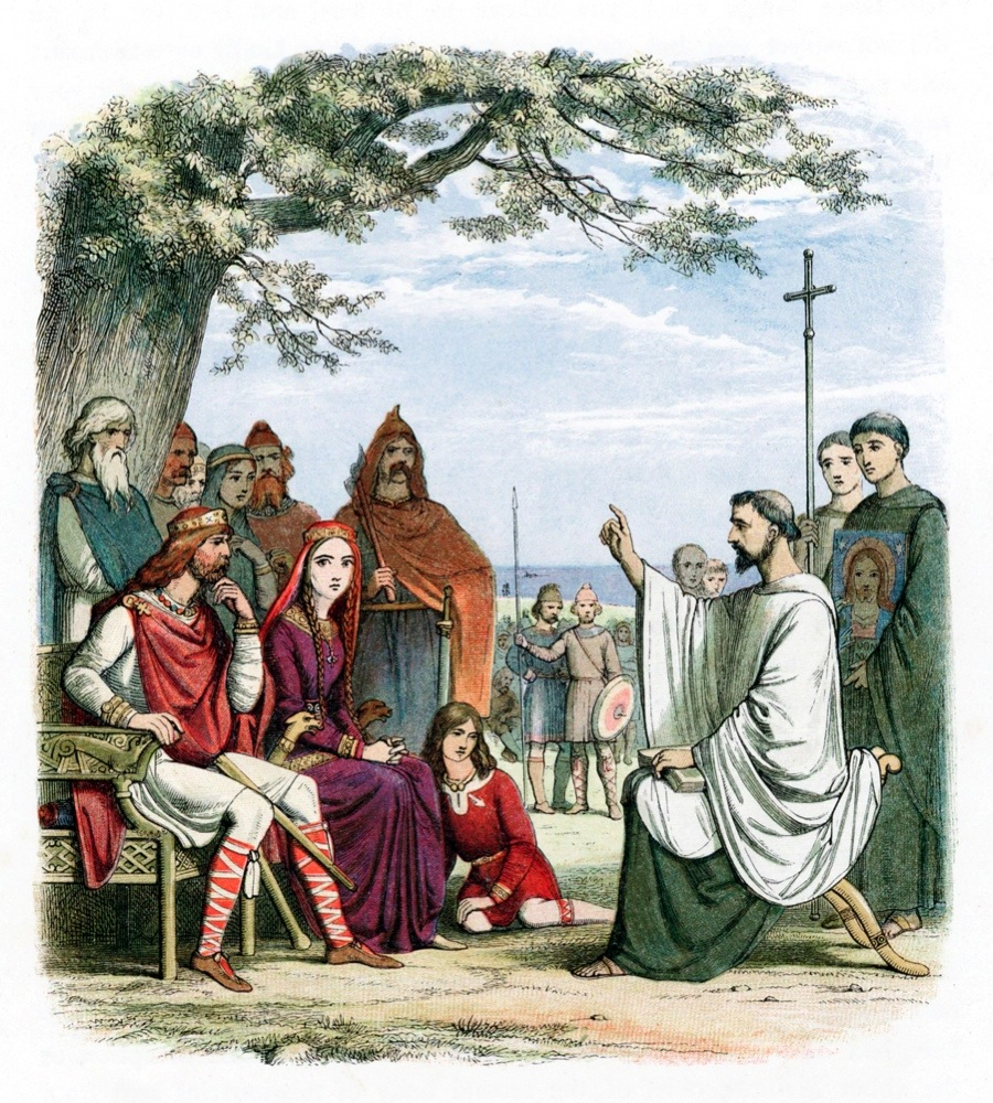 St Augustine of Canterbury (d604). Augustine was sent by Pope Gregory I to convert the Anglo-Saxons to Christianity. He is seen here preaching before Ethelbert (552?-616), Anglo-Saxon King of Kent whom he baptised in 597. Augustine was the first Archbishop of Canterbury. (Photo by Ann Ronan Pictures/Print Collector/Getty Images)