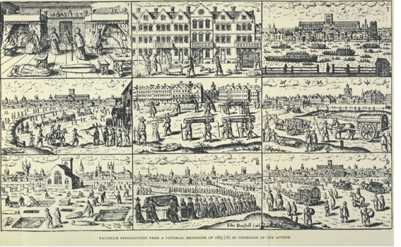 Pictorial depiction of the Great Plague, (1665?). The top left scene is in a bedchamber with a person laid out on the floor and a coffin. A scene on the middle right shows a mass grave site. In the very centre people are carrying coffins. On the bottom left graves are being dug and coffins being placed in them. In the middle of the bottom row is a funeral procession. On the bottom right is a scene of people possibly leaving London. The Great Plague struck England and especially London between 1664 and 1666, killing perhaps more than 75,000 of a total population estimated at 460,000. From a nineteenth century facsimile reproduction from a pictorial broadsheet of 1665-1666. (Photo by Museum of London/Heritage Images/Getty Images)
