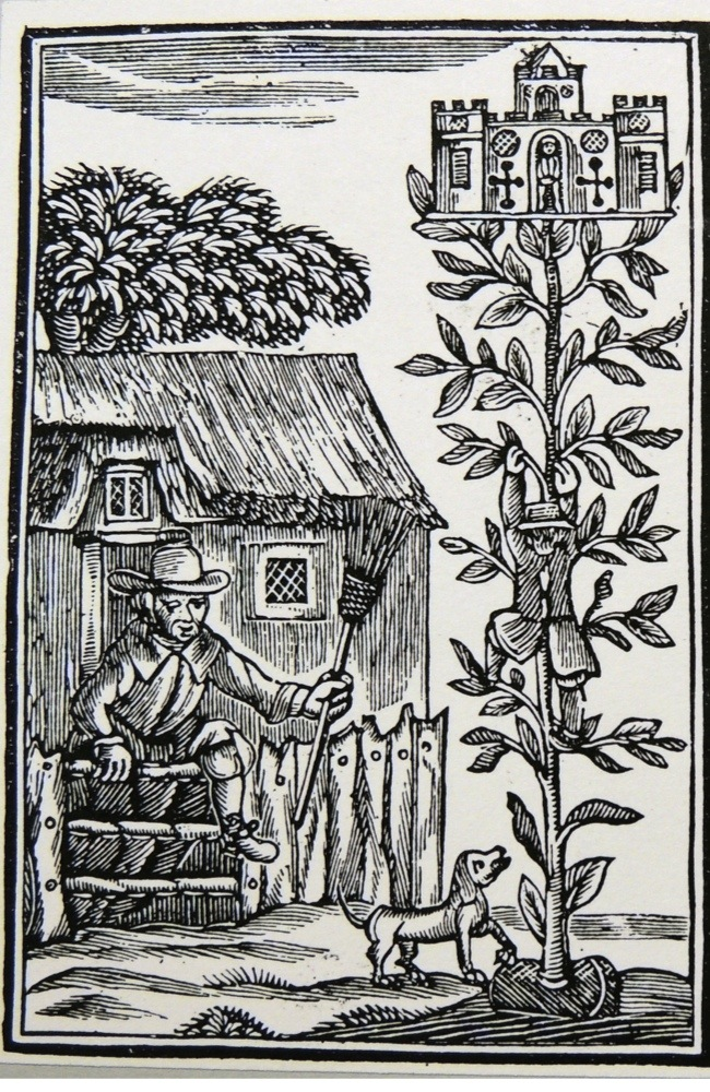 Jack and the Beanstalk, Jack climbing the beanstalk towards the giant's castle. Figure with the broom is Jack's mother. Illustration from a children's picture book c1800. (Photo by, Universal History Archive/UIG via Getty Images)