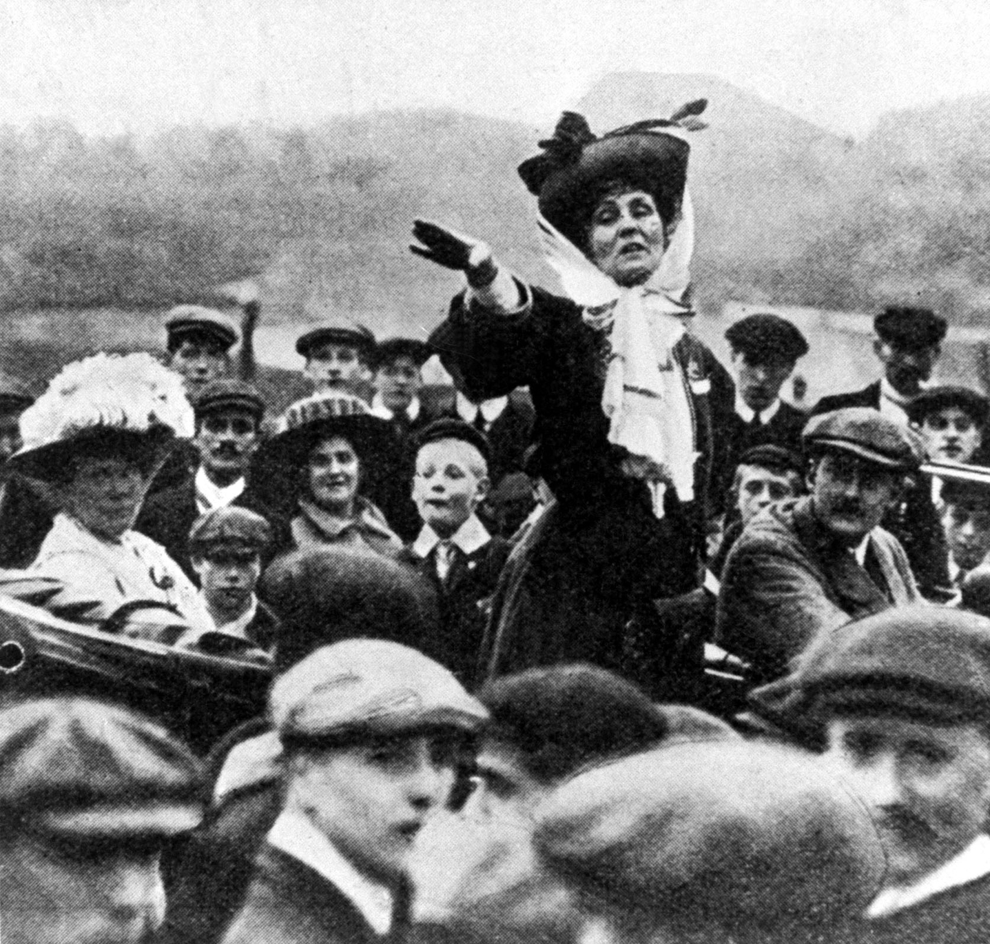 English suffragist Emmeline Pankhurst (1858-1928) making an open air speech. (Photo by Time Life Pictures/Mansell/Time Life Pictures/Getty Images)