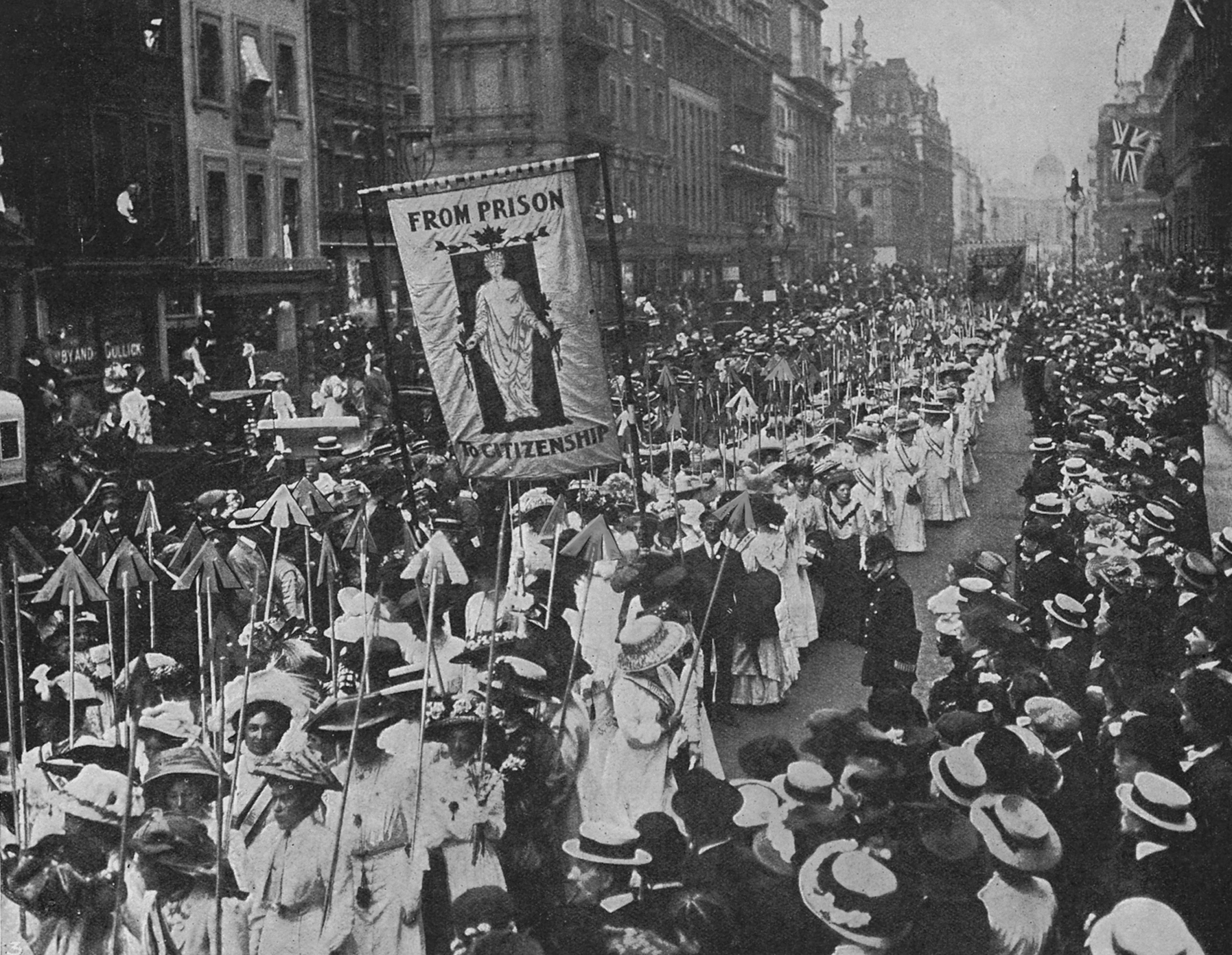 Suffragette demonstration w. women carrying wands tipped with silver broad-arrows and banner From Prison to Citizenship, each of 617 arrows representing a conviction of a Suffragette. (Photo by Time Life Pictures/Mansell/Time Life Pictures/Getty Images)