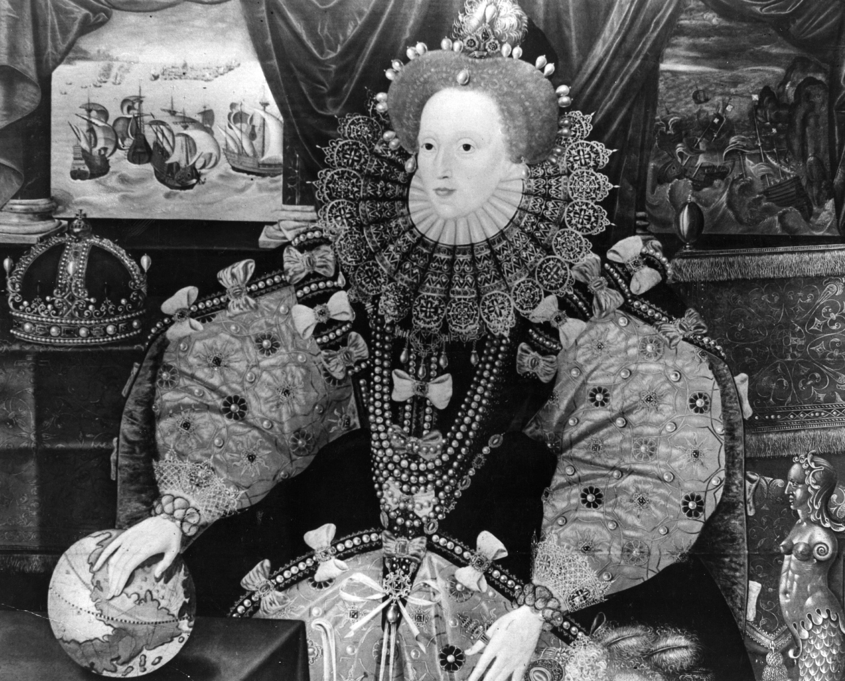 Circa 1565, The Queen of England, Elizabeth I (1533 - 1603), by Marc Gerrarts. (Photo by Topical Press Agency/Getty Images)