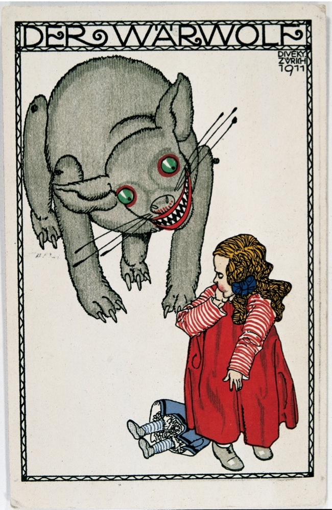 AUSTRIA - JANUARY 01:  The Werewolf. Fairy-tale figure. Postcard by the Viennese Werkstaette, Number 497. Colour Lithographie by Josef von Diveky, 1911.  (Photo by Imagno/Getty Images) [Der Werwolf. Maerchenfigur. Wiener Werkstaette-Postkarte No. 497. Farblithographie, 1911.]