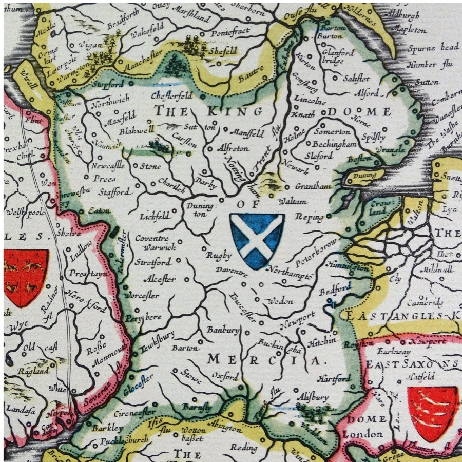 Shield of Mercia, from the Heptarchy; a collective name applied to the Anglo-Saxon kingdoms of south, east, and central England during late antiquity and the early Middle Ages, Detail from an antique map of Britain, by the Dutch cartographer Willem Blaeu in Atlas Novus (Amsterdam 1635) (Photo by: Universal History Archive/UIG via Getty Images)