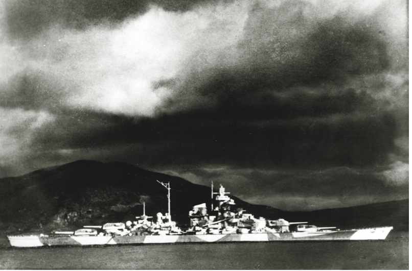 """'Tirpitz' hiding in a Norwegian fjord in 1942. """"She outclassed anything in the British fleet,"""" says Patrick Bishop. (Getty Images)"""