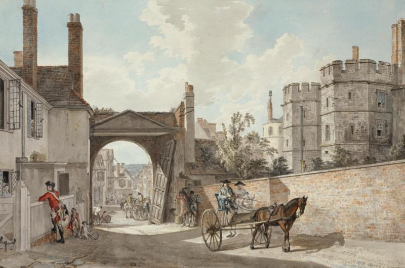 An 18th century drawing of a street near Windsor Castle.