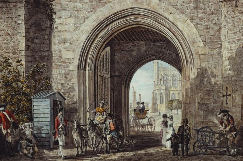 An 18th century drawing of people going about their daily lives at Windsor Castle.