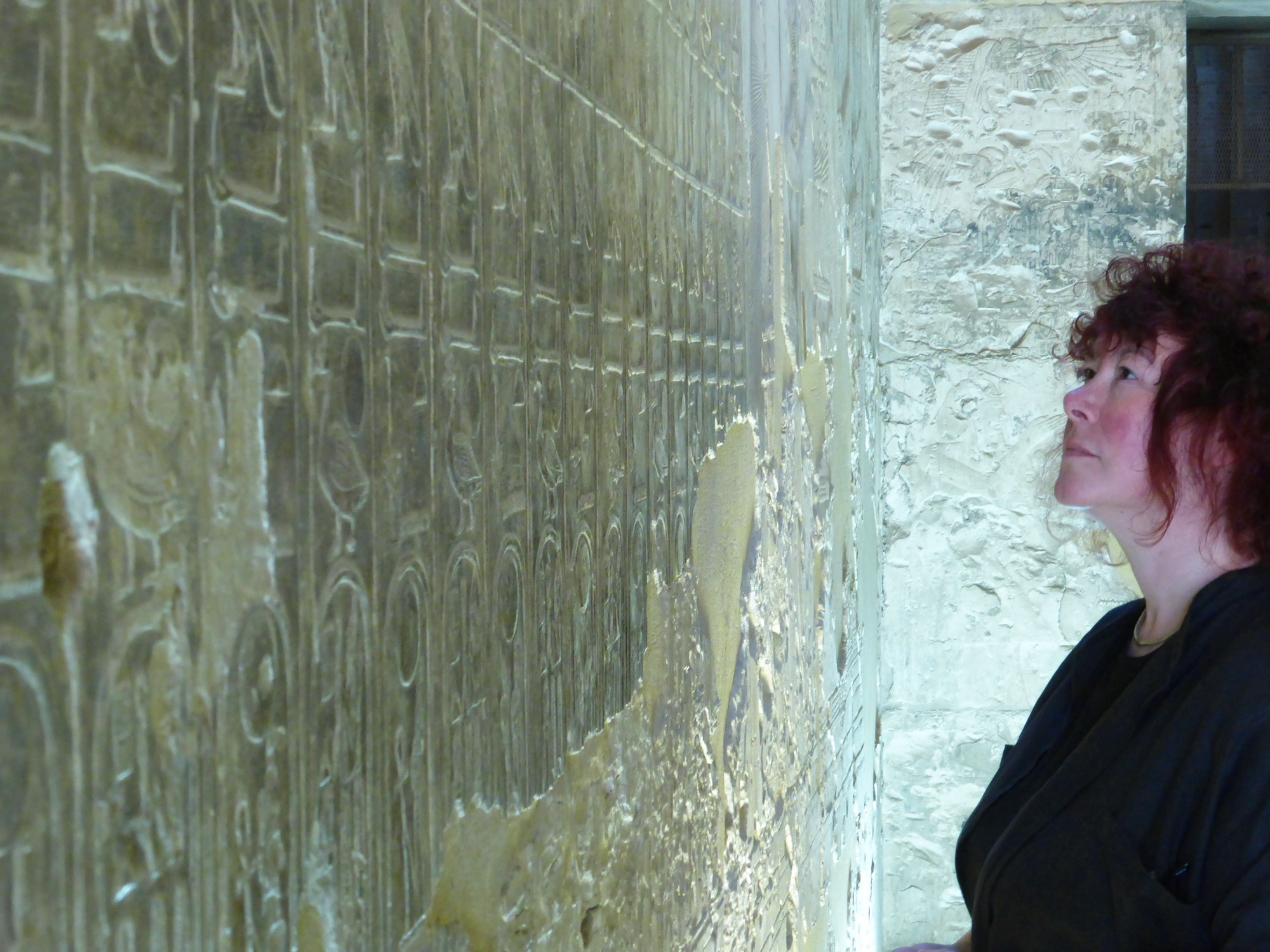 Programme Name: Immortal Egypt with Joann Fletcher - TX: n/a - Episode: n/a (No. Ep 3) - Picture Shows: Prof. JoannFletcher looking at the King Lists Seti I temple in Abydos. Prof. Joann Fletcher - (C) Lion TV - Photographer: Caterina Turroni