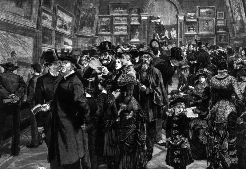 20th July 1880:  A crowd admiring the artworks at an exhibition by the Royal Academy of Arts in Burlington House, London. Original Publication: The Graphic - At The Royal Academy - pub. 1880  (Photo by Hulton Archive/Getty Images)