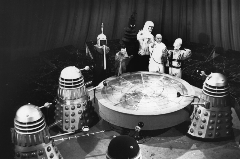 6th August 1965: A scene from 'Mission to the Unknown', an episode of the popular British television sci-fi series 'Doctor Who', shows a meeting in the Dalek city on Kembel, 6th August 1965. Representatives of the seven galaxies meet and approve the Daleks' plan to conquer Earth.(Photo by Keystone/Getty Images)