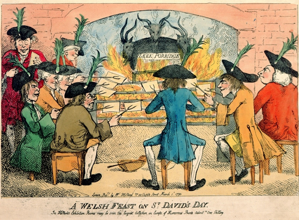 XCF290979 A Welsh Feast on St. David's Day, 1790 (colour etching) by English School, (18th century); British Museum, London, UK; (add.info.: satire on the Welsh;); English,  out of copyright
