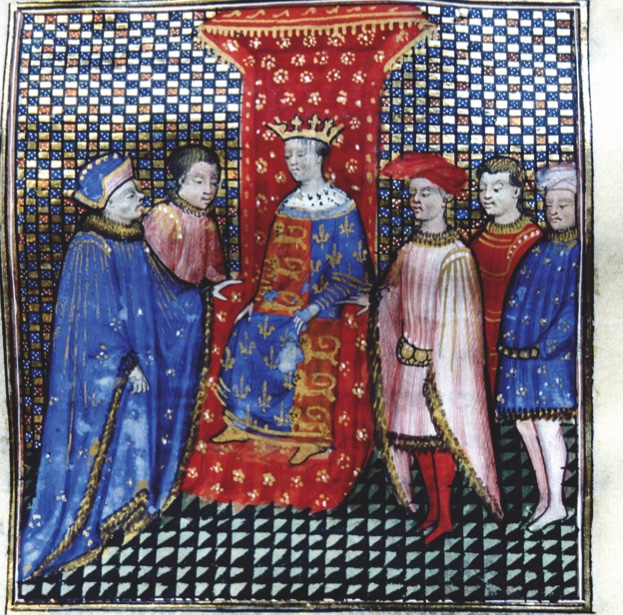 Desc: Edward III, 1312-77, King of England listens to Robert D'Artois who is encouraging him to claim the French throne, manuscript illumination, early 15th century, from the Chronicles of Jean Froissart, c. 1337 - c. 1405, Ms 864 f. 46 • Credit: [ The Art Archive / Bibliothèque Municipale Besançon / Kharbine-Tapabor / Coll. Jean Vigne ] • Ref: AA531544