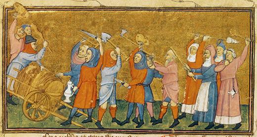 Illumination,French, 14th century.Illustration (brawl).Fr.: Le livre du roy Modus et de la royne (..) qui parle des deduis et de pestilence.