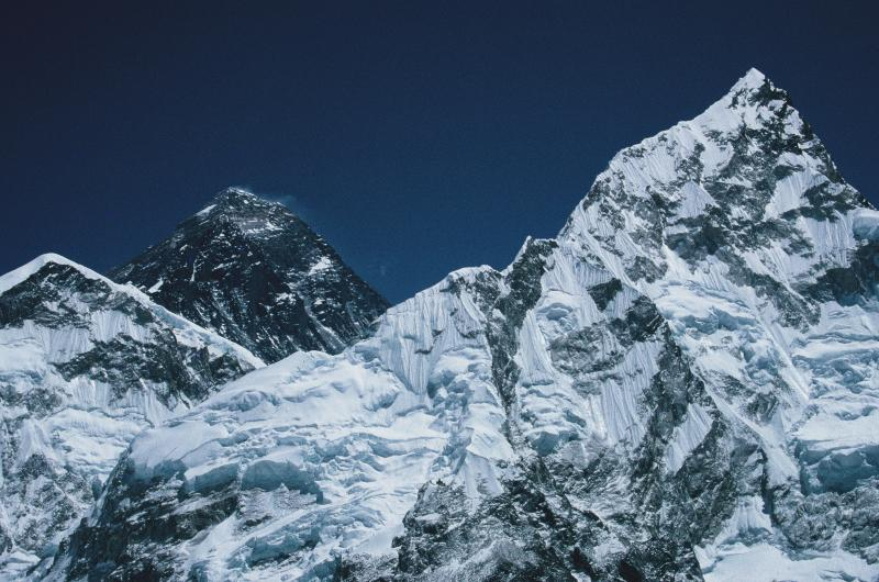 A photograph of the peak of Mount Everest