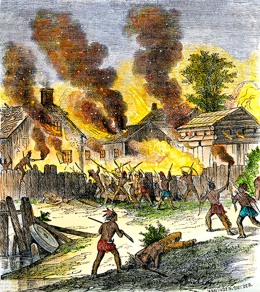 AYX15G Burning of Deerfield Massachusetts during an attack by Native Americans 1704