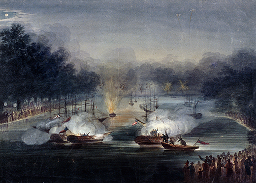 DDNGGA View of a sham fight on the Serpentine, Hyde Park, London, 1814. Artist: Charles Calvert