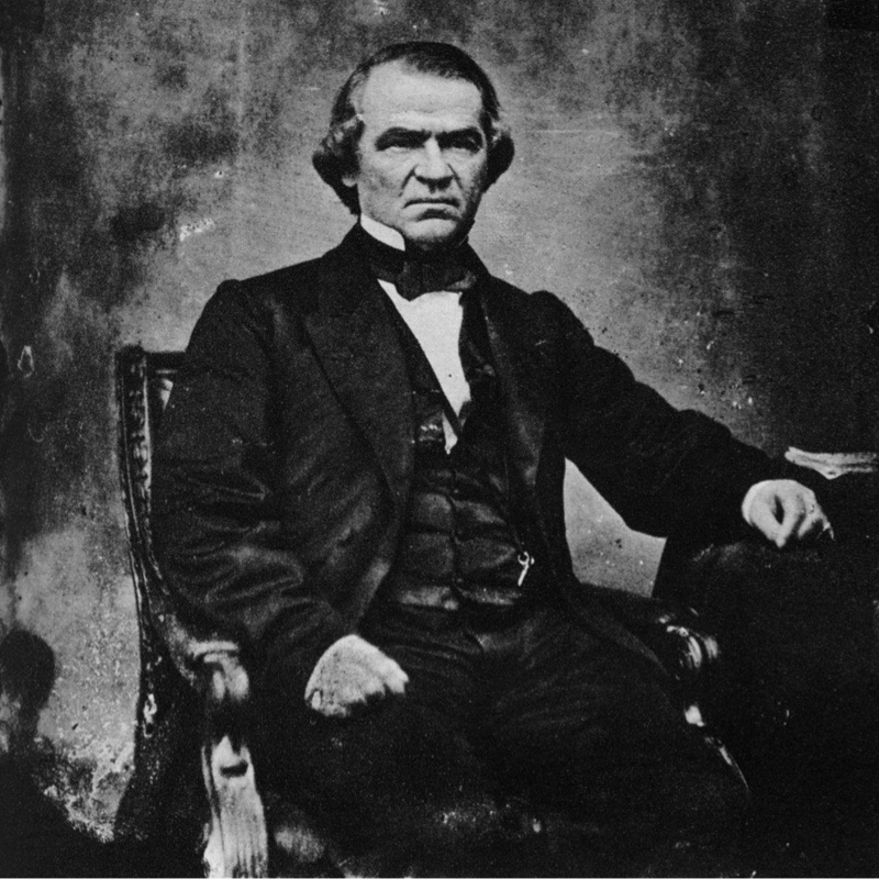 Andrew Johnson, 17th President of the United States, 1860s (1955). Johnson (1808-1875) was Abraham Lincoln's vice-president and succeeded Lincoln as president after his assassination. His policies of conciliation towards the South after the Civil War and his vetoing of civil rights bills led to bitter confrontation with the Radical Republicans in Congress. They made two attemts to have Johnson impeached, the second of which only failed by one vote in the Senate. He was defeated by Ulysses S Grant in the 1868 presidential election and one of his last acts in office was to grant an unconditional amnesty to all Confederates on Christmas Day 1868. A print from Mathew Brady Historian with a Camera by James D Horan, Bonanza Books, New York, 1955. (Photo by The Print Collector/Print Collector/Getty Images)