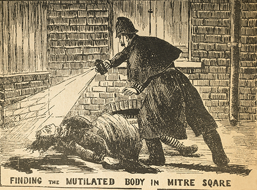 Engraving from the Illustrated Police News October 6th 1888, showing Constable Watkins of the City of London Police Force discovering the body of murder victim Catherine Eddowes. City of London. | Photo Credit: [ The Art Archive / Museum of London ]