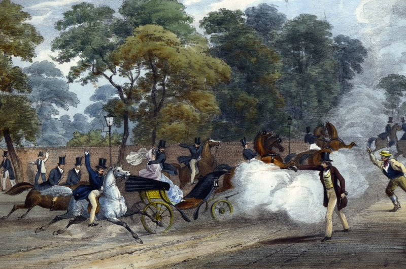 UNSPECIFIED - CIRCA 1754: Attempted assassination of Queen Victoria (1819-1901). On the evening of Wednesday 10 June 1840 Victoria and Prince Albert were travelling in a carriage along Constitution Hill near Buckingham Palace, London, when Edward Oxford fired a pistol at the Queen. Hand-coloured lithograph. (Photo by Universal History Archive/Getty Images)