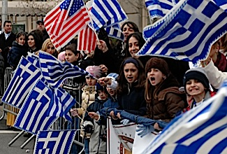 B005NB Greek Americans march up Fifth Avenue in New York