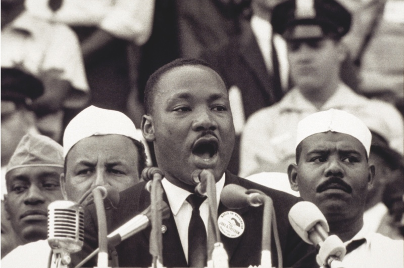"28 Aug 1963, Washington, DC, USA --- Martin Luther King Jr., gives his ""I Have a Dream"" speech to a crowd before the Lincoln Memorial during the Freedom March in Washington, DC, on August 28, 1963. The widely quoted speech became one of his most famous. --- Image by © Bettmann/CORBIS"